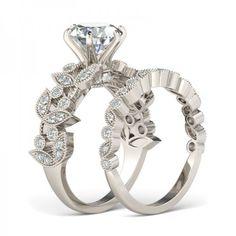 Jeulia Leaf Shape 2.0 CT Round Cut Created White Sapphire Wedding Set - GIFT IDEAS