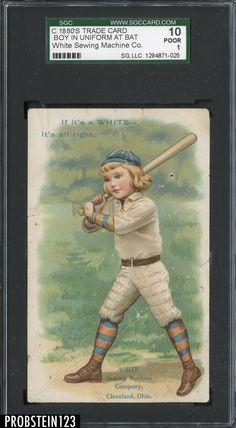 1880s Trade Card White Sewing Machine Co. Boy In Uniform At Bat