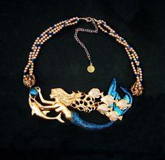 Mermaid Jewelry Spanish Galleon Mermaid Necklace by InArtStudio