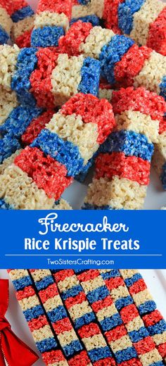 Our colorful and patriotic Firecracker Krispie Treats are adorable, delicious and make the perfect 4th of July dessert. Easy to make, these super cute 4th of July Treats will definitely stand out on a Fourth of July Dessert Table. They would be great at a 4th of July Party, a Memorial Day barbecue or an Olympics viewing party. Pin this delicious 4th of July snack for later and follow us for more great 4th of July Food Ideas.