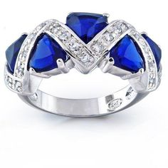Bling Jewelry Sterling Silver Trillion Cut Blue Sapphire Color CZ Zig Zag Ring