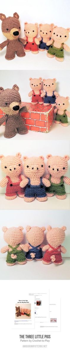 The Three Little Pigs amigurumi pattern