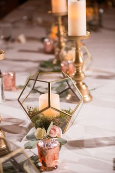 Take a look at trained classy wedding centerpieces Gold Wedding Decorations, Reception Decorations, Wedding Centerpieces, Edible Centerpieces, Art Deco Wedding, Wedding Ideas, Geometric Wedding, Wedding Honeymoons, Floating Candles