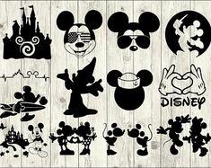 Mickey Friends Mickey Heads Bundle SVG, Digital Cut Files in svg, dxf, png and jpg, Printable Clipart Run Disney, Disney Diy, Disney Crafts, Disney Trips, Disney Theme, Disney Silhouette Art, Disney Silhouettes, Silhouette Studio, Silhouette Vinyl