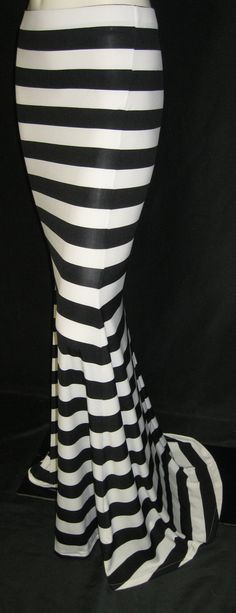 Handmade High Low waist maxi mermaid style skirt by TheFashionVault. black and white stripes