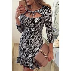 Printed Flounced Bodycon Dress