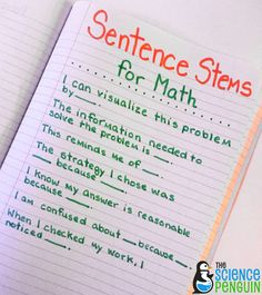 Starting Out with Sentence Stems- This post has ideas for using sentence stems in math, social studies, and science. Math Teacher, Math Classroom, Teaching Math, Classroom Ideas, Teaching Ideas, Teacher Stuff, Teaching Tools, Classroom Incentives, Teacher Websites