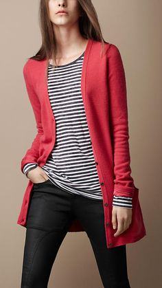 Always wear a long cardi open and either over shorts / a short skirt (with or without tights) or with a dress of similar / shorter length.