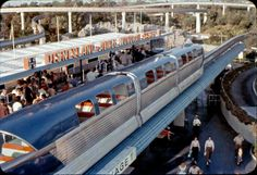 Disneyland-Alweg Mark I Blue Monorail pulls in to the Tomorrowland Station, 1960   Gorillas Don't Blog