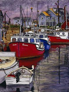 Winter Gallery - Artist Thelma Winter - Nova Scotia Good Ship Reverence (Powered by CubeCart) Kitsch, Winter Art, Nova Scotia, Fishing Boats, Landscape Art, Art Oil, Coastal, Fine Art Prints, Lighthouses