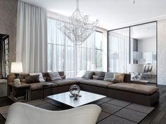 Modernes Wohnzimmer Einrichten Braunes Sofa Schiebetuer Essbereich