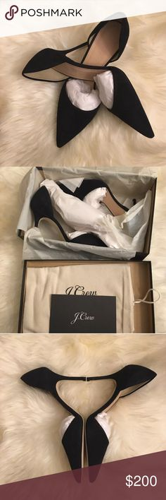 "NIB J Crew Elsie D'Orsay suede pump black size 6 Brand new in box. Never been worn.  Italian suede upper. Leather lining. Made in Italy. Online only. Item C5770. 3 1/2"" heel. J Crew Shoes Heels"