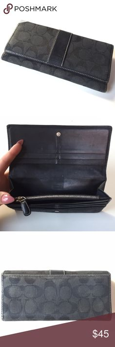 Authentic COACH Wallet Big size black coach Wallet. Many pockets Coach Bags Wallets