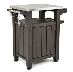 Keter Unity Indoor Outdoor BBQ Entertainment Storage Table/Prep Station with Metal Top: outdoor prep station, outdoor grill carts, outdoor grill storage Patio Storage, Table Storage, Storage Spaces, Storage Rack, Storage Cabinets, Grill Cart, Grill Table, Patio Table, Patio Kitchen