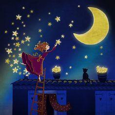 Stars 02 - Night art illustration print - Wall art - art posters - art print - wall decoration - Stars and moon - blue - french house ETSY
