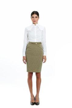 Trench shirt Waist Skirt, High Waisted Skirt, Social Club, Trench, Green, Skirts, Designers, Chain, Fashion