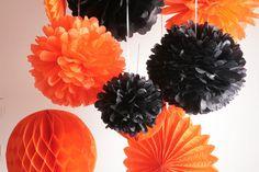 von Pompompous auf Etsy Rosettes, Honeycomb, Happy Halloween, Etsy, Orange, Vintage, Party, Decoration, Craft Gifts