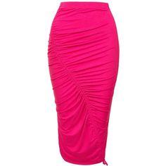 Sans Souci Fushia drawstring ruched skirt ($19) ❤ liked on Polyvore featuring skirts, fushia, gathered skirt, rayon skirt, pink skirt, ruched skirts and high-waist skirt