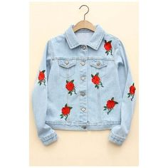 Hot Fashion Rose Embroidered Lapel Collar Long Sleeve Single Breasted... (2.450 RUB) ❤ liked on Polyvore featuring outerwear, jackets, single breasted jacket, long sleeve jean jacket, denim jacket, blue jackets and lapel jacket