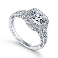 Want...Florence 14k White Gold Round Halo Engagement Ring angle 3