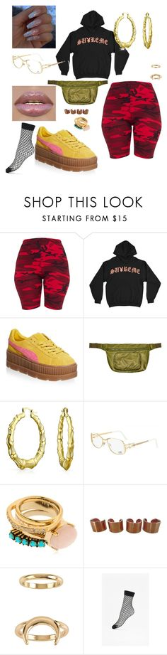 """""""Rotten."""" by ksimonebutler ❤ liked on Polyvore featuring Puma, Yeezy by Kanye West, Bling Jewelry, Cazal, Iosselliani, Maison Margiela, Billabong and French Connection"""