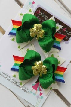 St Patrick's Day Bows pigtail set Pinch by DarlingLittleBowShop, $10.95