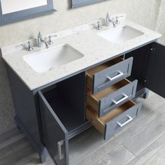 Seacliff by ARIEL Nantucket Double Sink Bathroom Vanity Set in Whale Grey Small Double Sink Vanity, Double Sink Bathroom, White Vanity Bathroom, Vanity Sink, Bathroom Vanities, Vanity Units, Sinks, Modern Bathroom, Bathrooms