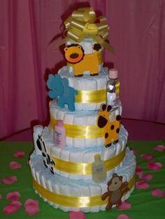 Jungle Diaper Cake for Jungle Baby Shower.    http://www.modern-baby-shower-ideas.com/safari-baby-shower-theme.html