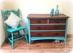Chest of drawers and chair, painted in annie sloan chalk paint - florence