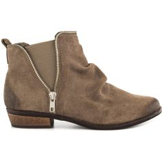 Naughty Monkey Women's Zip Dee Doo - Taupe ($70) ❤ liked on Polyvore featuring shoes, boots, ankle booties, beige, heel boots, short heel boots, small heel boots, short boots and low heel bootie