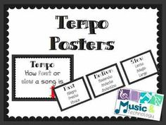 Elements of Music- Tempo Posters- A quick reference for students to help them remember what different tempo markings mean. #teacherspayteachers #musiceducation #classroomdecorations #bulletinboards
