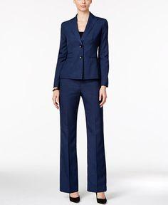 52e0c0d464e74 Image 1 of Le Suit Plus Size Striped Three-Button Pantsuit