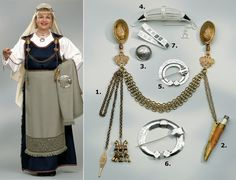 The jewellery of the ancient dress of St.Michel, here illustrated with the… Viking Clothing, Viking Jewelry, Historical Clothing, Viking Garb, Viking Dress, Medieval Costume, Folk Costume, Norwegian Vikings, Viking Culture