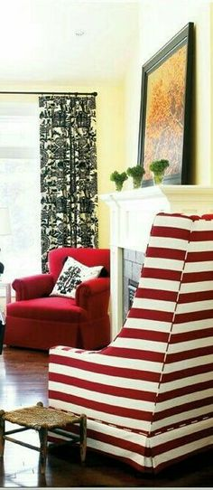 Red Home Decor, Charlotte, Lounge, Stripes, Couch, Furniture, Chair, Airport Lounge, Drawing Rooms