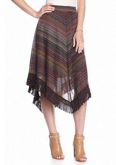 New Directions� Stripe Fringe Skirt