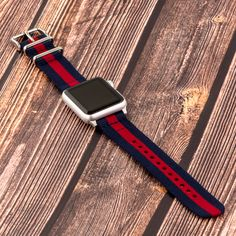 Navy & Red 2-Piece Classic NATO Bands with a Stainless Steel Buckle and Adapters attached to Apple Watch