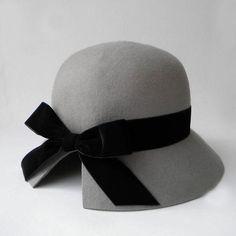 Cute Velve Bow Gray Wool Felt Woman Vintage Cloche Winter Hat Wedding  Church  560ffb48c2c