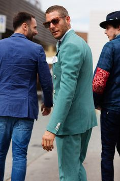 Lapo in a Green Suit with Contrast Buttons #menswear #streetstyle