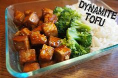 Dynamite Tofu! This is yummy and a great way to cook tofu. I add more veggies in a stir fry then serve over rice.
