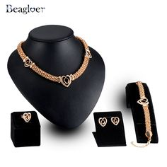 5449a877bddf5 ... Jewelry Set Necklace Earrings Bracelet Ring 4Pcs Set Gold Color For  Women-in Jewelry Sets from Jewelry   Accessories on Aliexpress.com