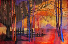 """Edge of Red"" abstracted tree collage painting by Carol Nelson"