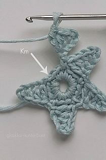 Stars crocheted for a Christmas garland..