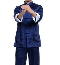 2a2989a428 Blue Chinese Men s Satin  Silk Kung Fu Suit Pajamas M--3Xl