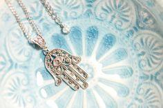 Tibetan silver Hamsa necklace Hamsa Hand of Fatima by artnsparkle