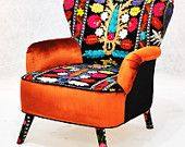 Artículos similares a RESERVED ITEM for KSENIA: Patchwork armchair with Suzani fabrics en Etsy