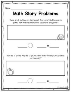 Grade 1 math word problem worksheets on adding and / or subtracting single digit numbers. Part of a collection of free pdf reading and math worksheets from . Addition Worksheets First Grade, First Grade Math Worksheets, 1st Grade Math, Kindergarten Worksheets, Grade 1, Math Story Problems, Word Problems, First Grade Words, Second Grade