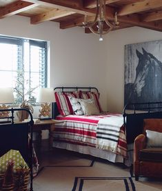 {the horse} area rug by Colin Campbell // beds from Restoration Hardware // chair from Crate + Barrel // chandelier from Circa  Bed room just like this but picture of CINDER