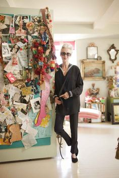 I just love the reminder that Mood Boards dont have to be small, tame cork boards. What a lovely spot, drenched in inspiration! (From an article about Linda Rodin, a model from the 60s)