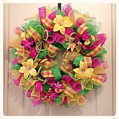 Spring Yellow, Pink and Lime Lily Deco Mesh Wreath/Pink, Lime and Yellow Wreath/Yellow Lily Wreath Deco Mesh Crafts, Wreath Crafts, Diy Wreath, Tulle Wreath, Wreath Ideas, Easter Wreaths, Holiday Wreaths, Birthday Wreaths, Deco Mesh Wreaths