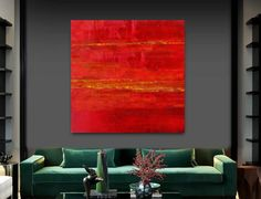 Large Abstract Abstract Painting Red Gold von HeartArtGallery